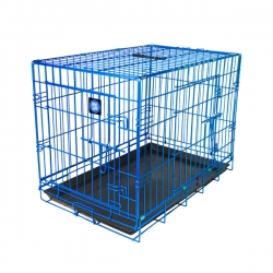 "Dog Life Small Double Door Crate Blue L24"" X W17"" X H20"" Or L60 X W42.5 X H51 Cm"
