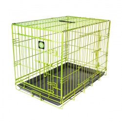 """Dog Life Small Double Door Crate Green L24"""" X W17"""" X H20"""" Or L60 X W42.5 X H51 Cm"""